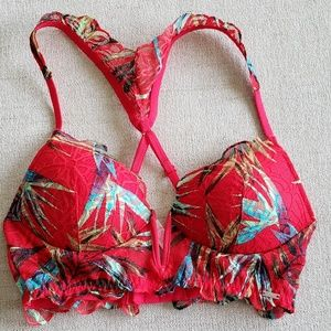 3/$30 PINK tropical date push up plunge bralette